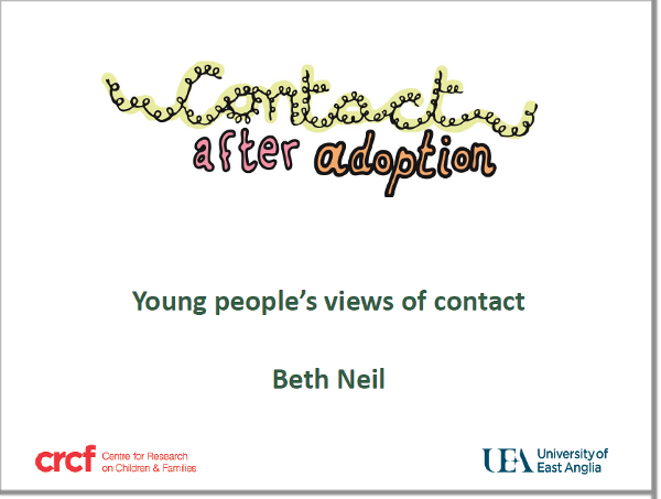 Slide presentation with trainer's notes: young people's views on contact with birth relatives