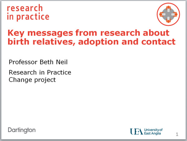 Key messages from research about birth relatives adoption and contact