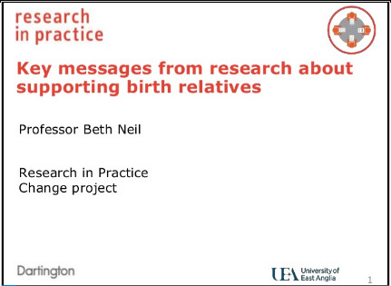 Slide presentation with trainer's notes: Supporting Birth Relatives