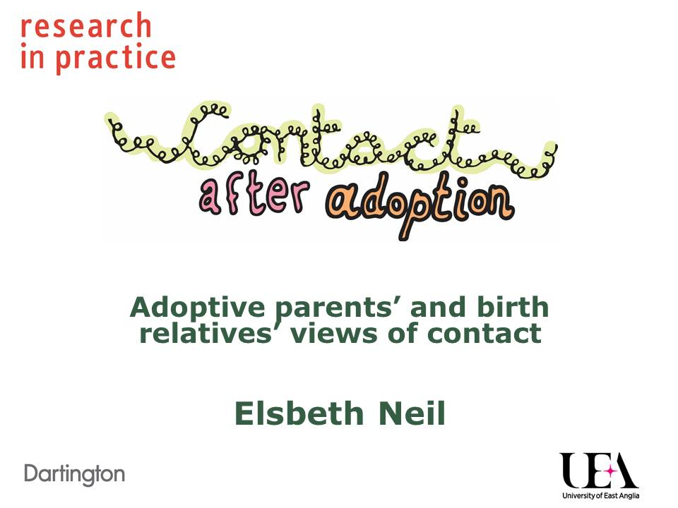 Slide presentation: Birth parents' and adopters' views about contact